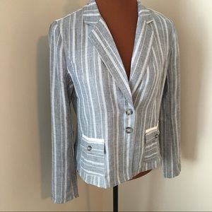 Hem & Thread Gray Vertical Stripe Jacket Blazer